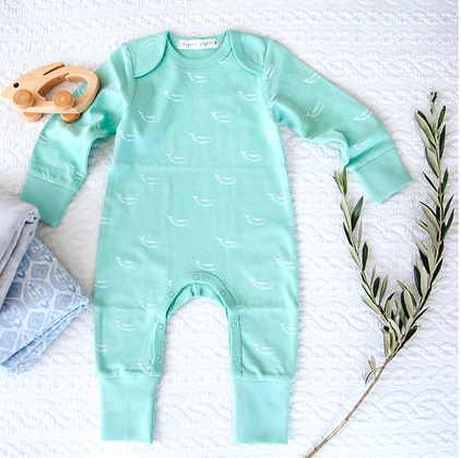 100% Organic Cotton Baby Sleepsuit in Sage Green