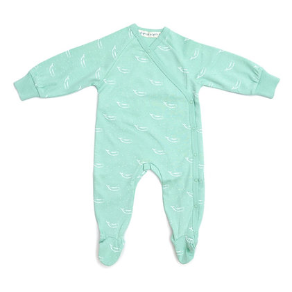 100% Organic Cotton Kimono Baby Sleepsuit with Feet in Sage Green