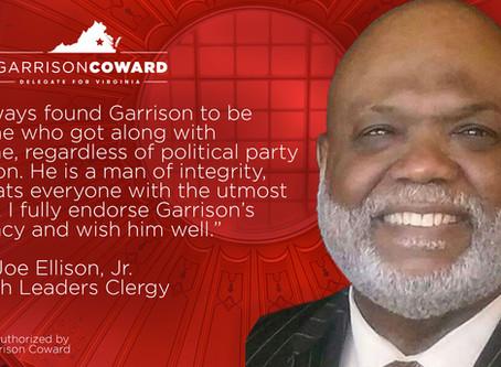 Pastor Joe Ellison endorses Garrison