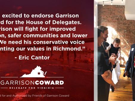 Eric Cantor endorses Garrison