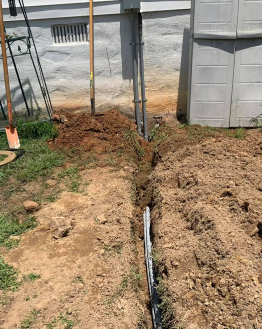 Underground wiring to an outdoor shed