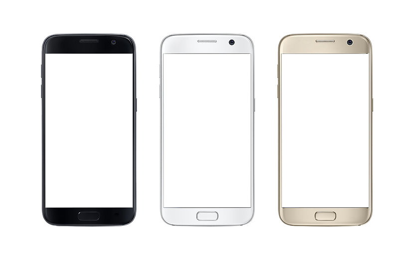 Modern smart phone in three color. White