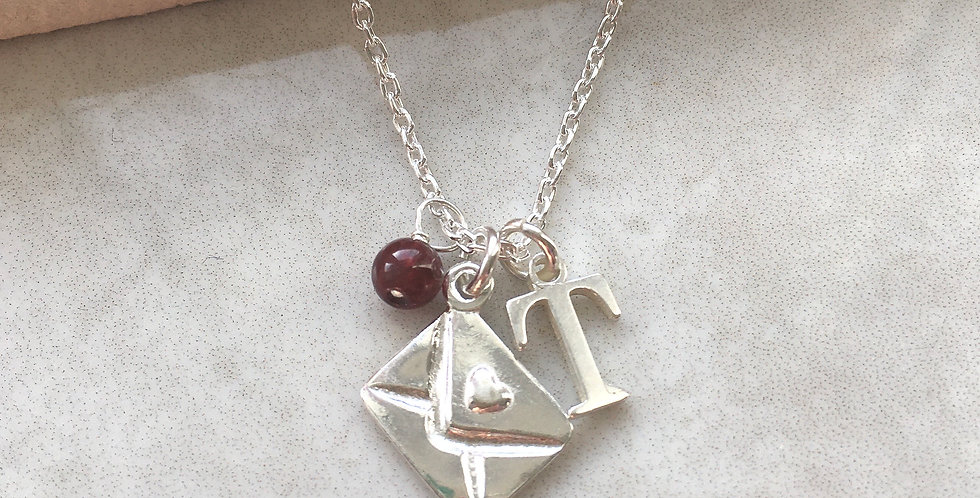 Love Letter, Initial and Birthstone Necklace in Silver