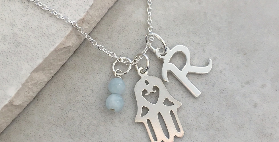 Hamsa Hand ,Initial and Birthstone Necklace in Sterling Silver