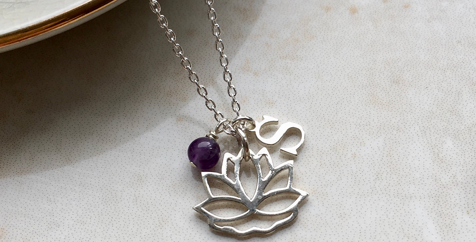 Lotus flower charm necklace with initial and birthstone in sterling silver