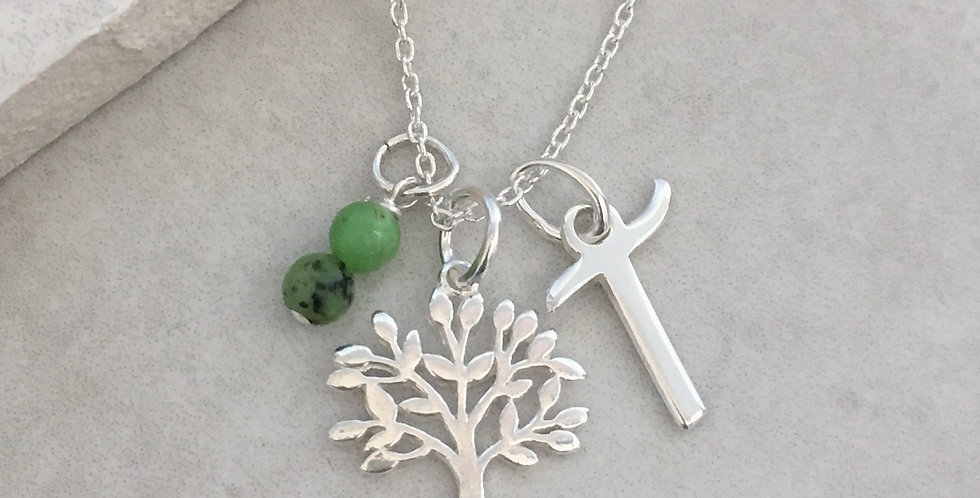 Tree of Life, Initial and Birthstone Necklace in Sterling Silver