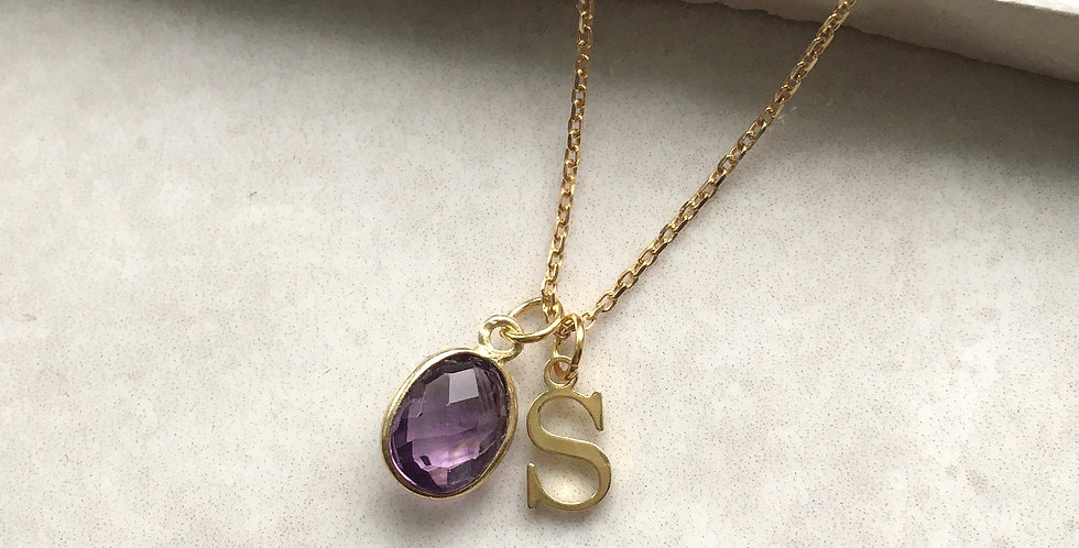 Amethyst Initial Necklace in Gold
