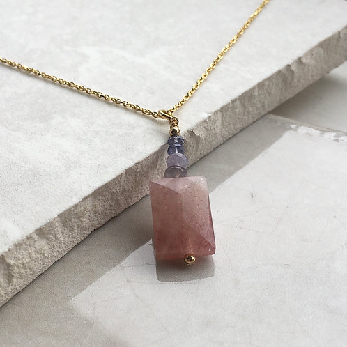Strawberry Quartz Rectangle Pendant