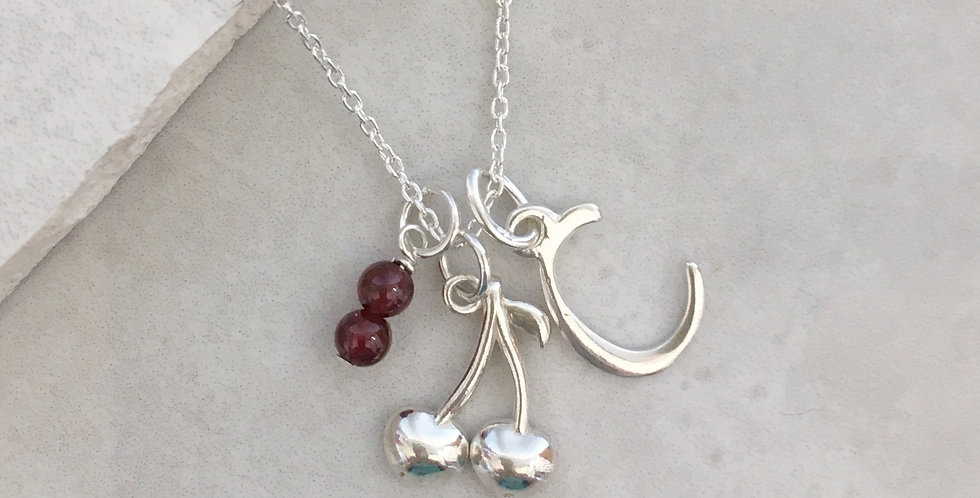 Cherry Initial and Birthstone Necklace in Sterling Silver