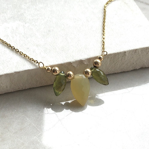 Yellow Opal and Peridot Necklace