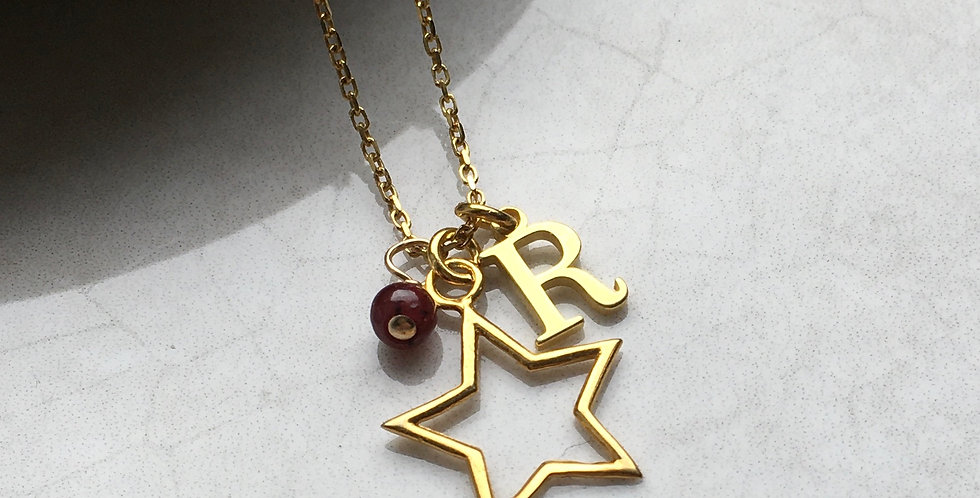 gold star charm necklace with initial and birthstone