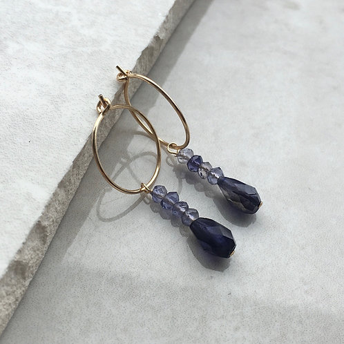 Blue Iolite Drop Hoop Earrings