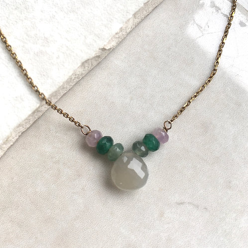 Moonstone and Jade Gold Necklace