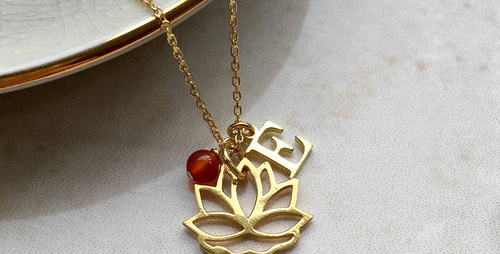 lotus flower charm necklace with initial and birthstone in gold vermeil