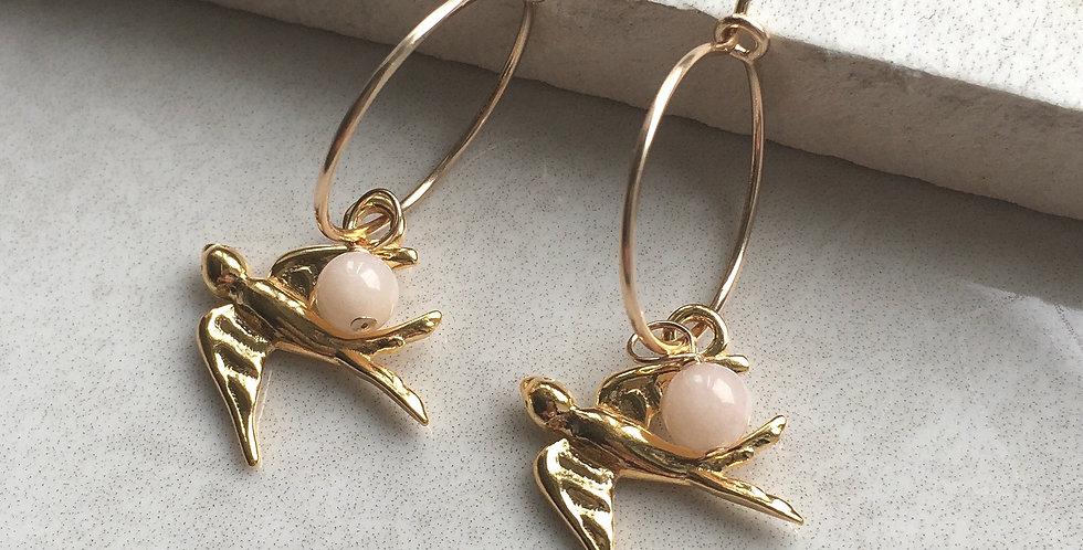 Gold Swallow and Birthstone Hoop Earrings
