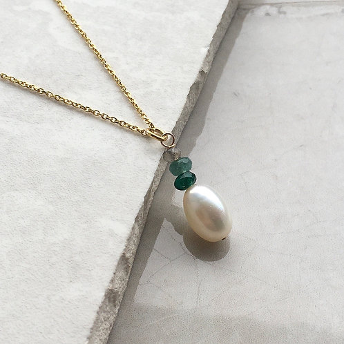 Pearl and Green Jade Pendant