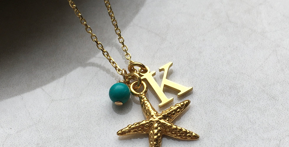 Starfish, Initial and Birthstone Necklace in Gold Vermeil