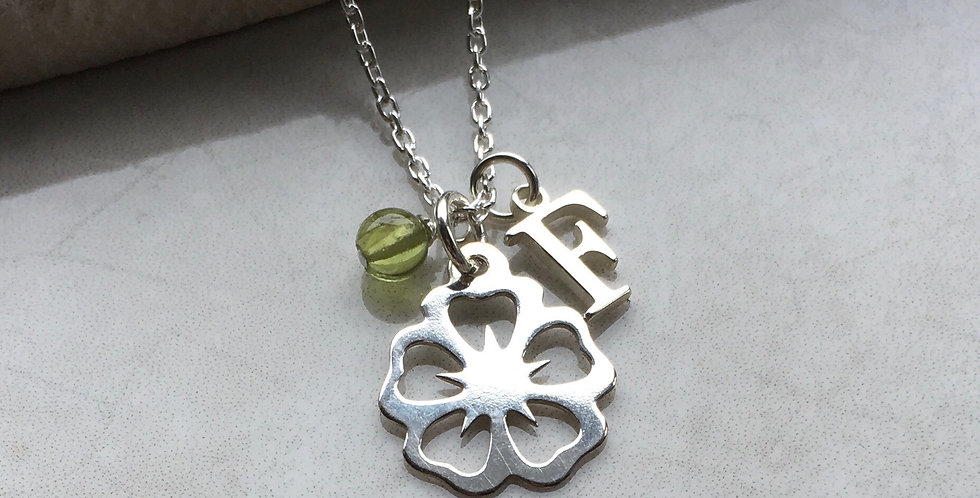 Flower Necklace with Initial and Birthstone