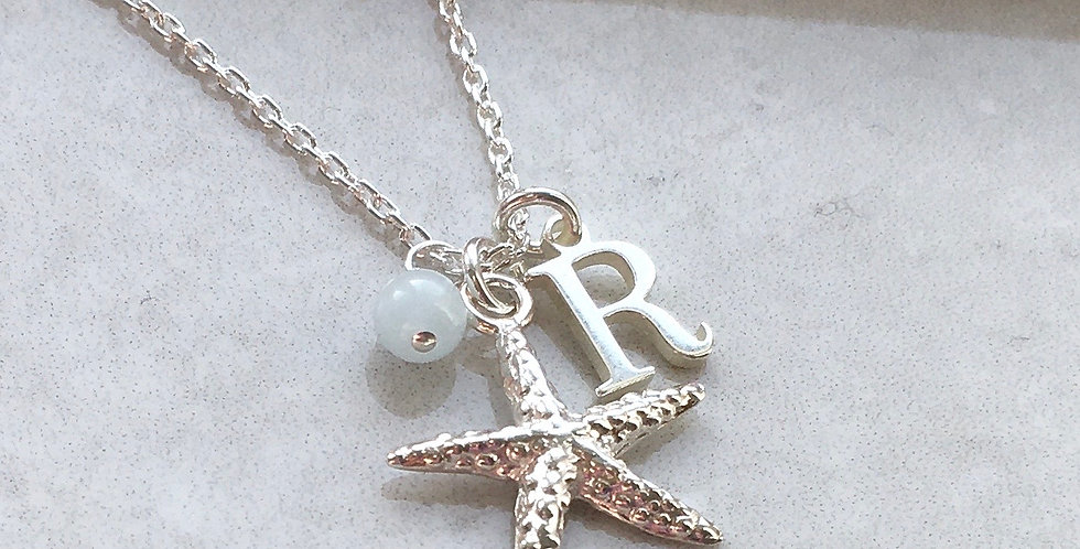 Starfish, Initial and Birthstone Necklace in Sterling Silver