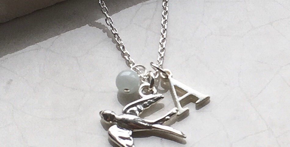 Swallow, Initial and Birthstone Necklace in Sterling Silver