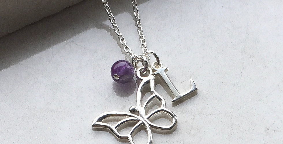 Butterfly, Initial and Birthstone Necklace in Sterling Silver