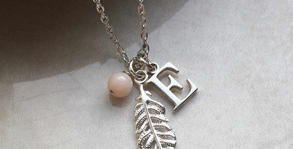 Feather, Initial and Birthstone Necklace in Sterling Silver