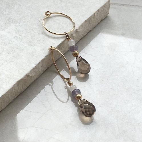 Smokey Quartz and Jade Hoop Earrings