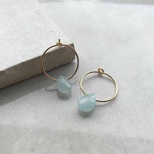 Aquamarine Gold Hoop Earrings