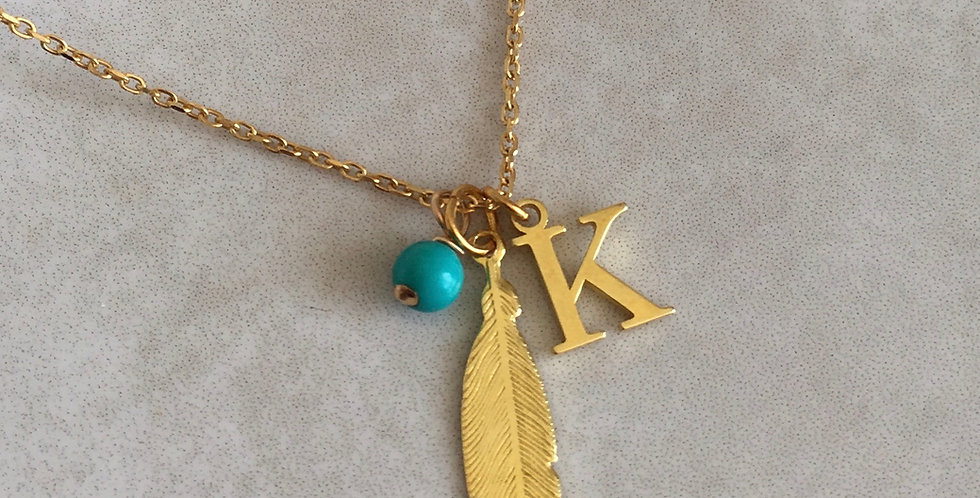 Feather, Initial and Birthstone Necklace in Gold Vermeil