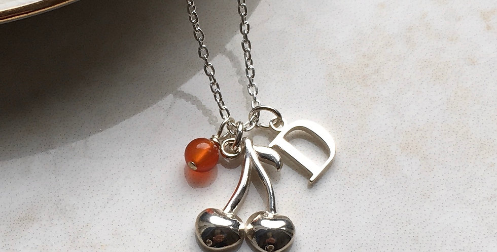 cherry charm necklace with initial and birthstone in sterling silver