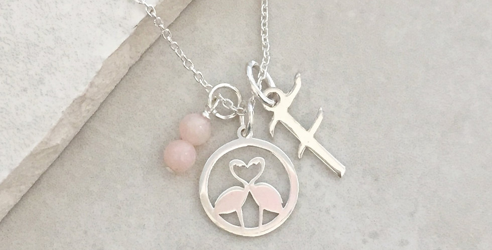 Flamingo Initial and Birthstone Necklace in Sterling Silver