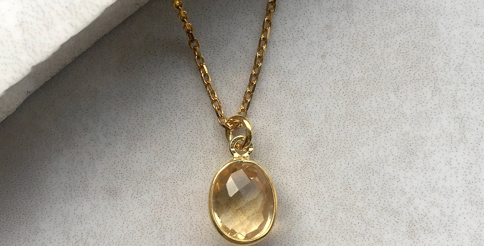 Citrine Necklace in Gold Vermeil