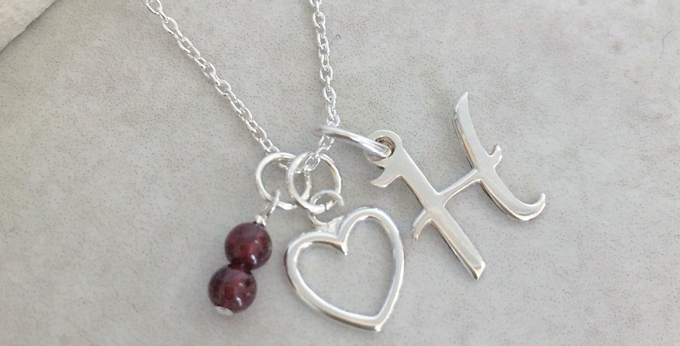 Heart, Initial andBirthstone Necklace in Sterling Silver