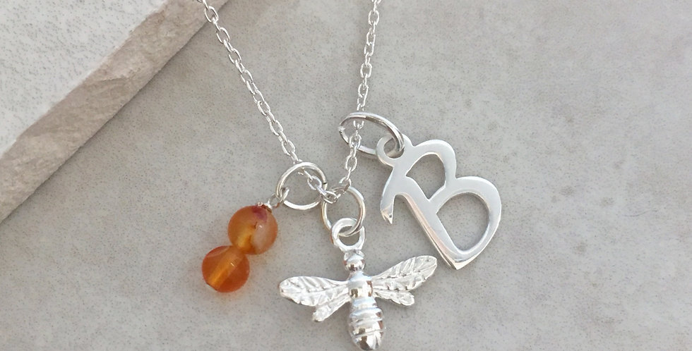 Bumble Bee, Initial and Birthstone Necklace in Sterling Silver
