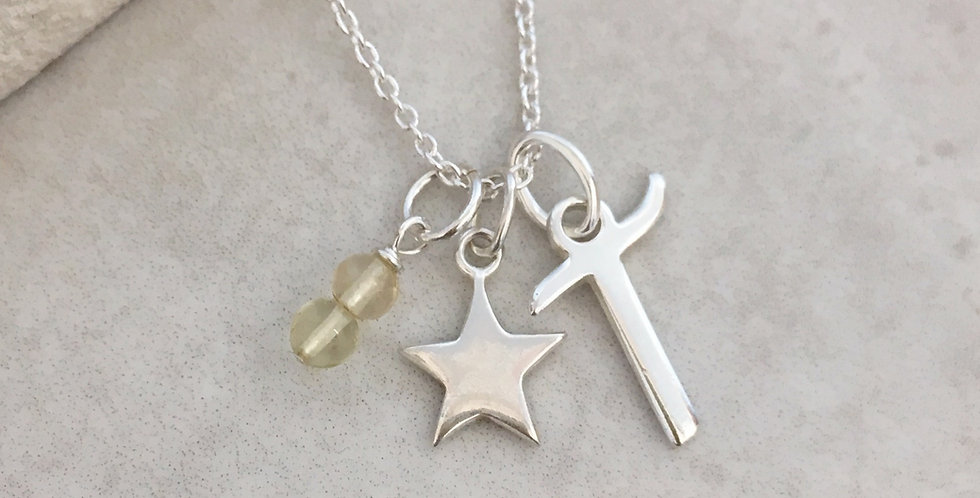 Star, Initial and Birthstone Necklace in Sterling Silver