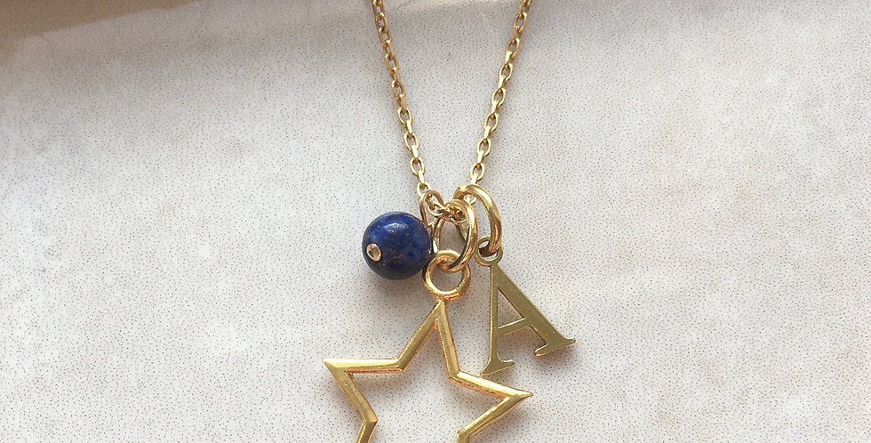 Star, Initial and Birthstone Necklace in Gold Vermeil