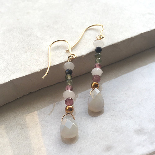 Chalcedonay and Tourmaline Drop Earrings