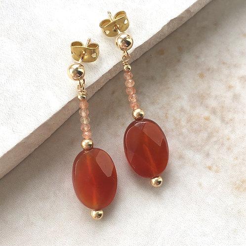 Carnelian Nugget Gold Earrings
