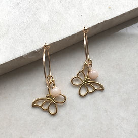 Gold butterfly and birthstone hoop earri