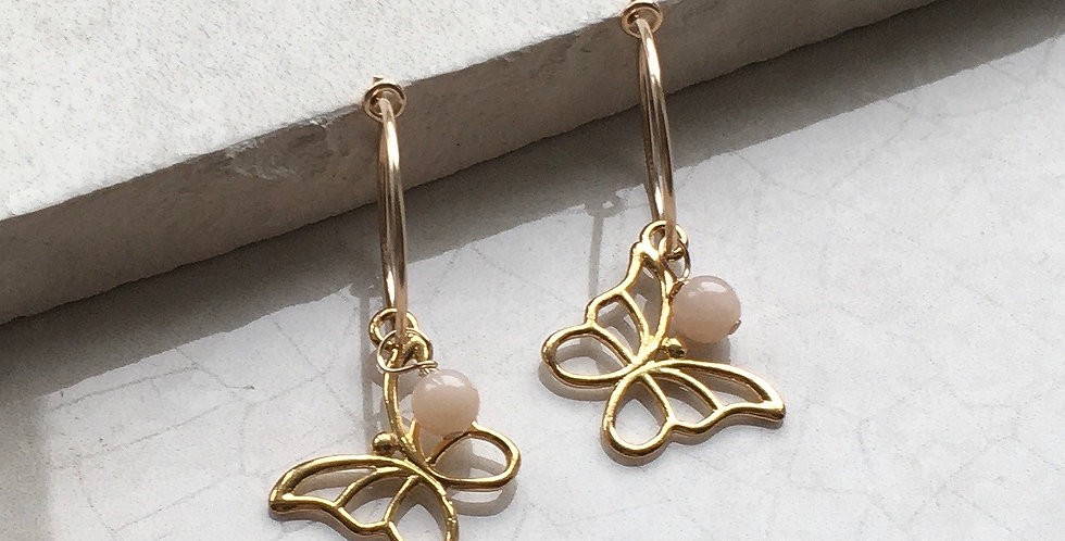 Gold Butterfly and Birthstone Hoop Earrings