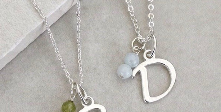 Script Style Initial and Birthstone Necklace