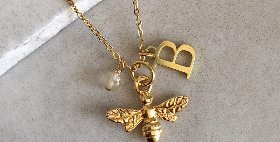Bee, Initial and Birthstone Necklace in Gold Vermeil