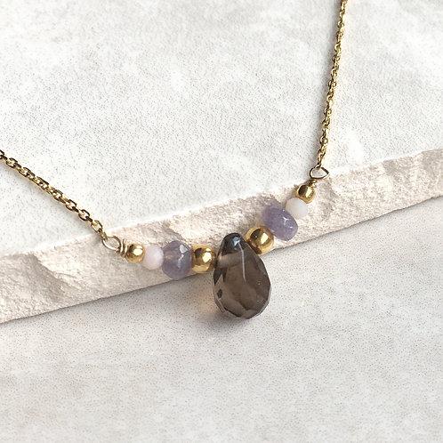 Smokey Quartz and Jade Gold Necklace