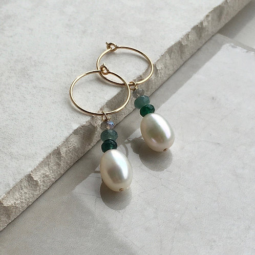 Pearl and Green Jade Hoop Earrings