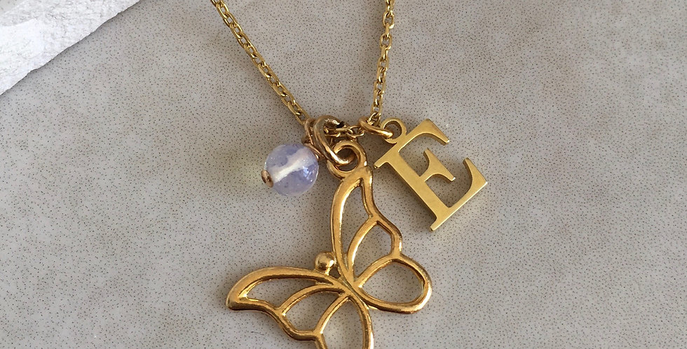 Butterfly, Initial and Birthstone Necklace in Gold Vermeil