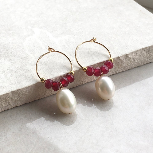Pearl and Red Jade Hoop Earrings