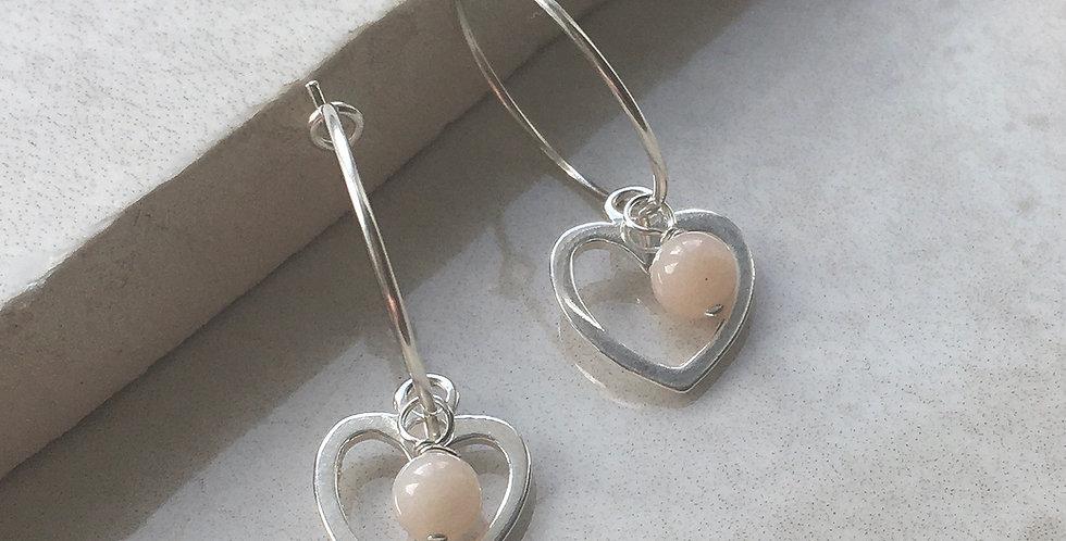 Heart and Birthstone Hoop Earrings