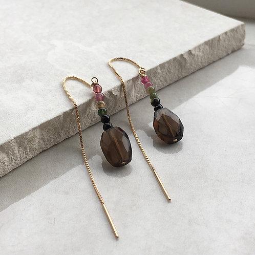 Smoky Quartz and Tourmaline Threader Earrings