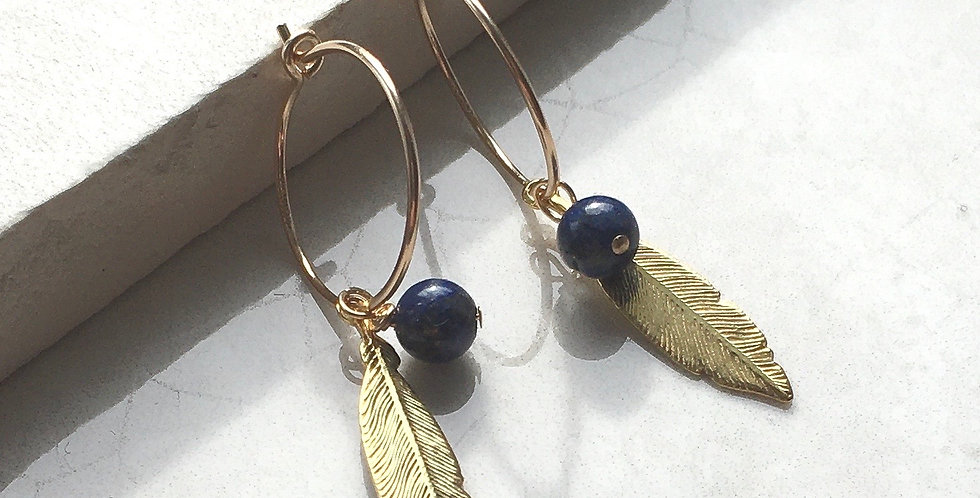 Gold Feather and Birthstone Hoop Earrings