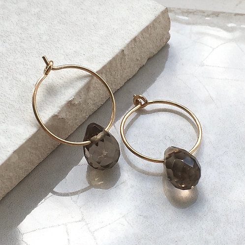 Smokey Quartz Gold Hoop Earrings